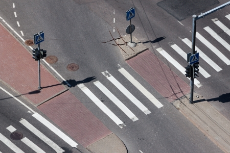 Aerial View on pedestrian crossing with trafic light Banco de Imagens