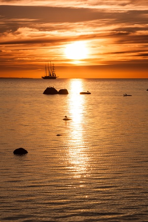 starboard: Old tall sail ship silhouette in sunset