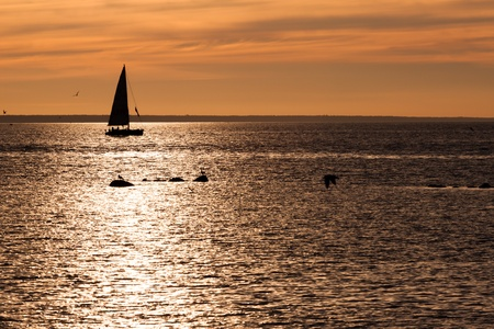 Sailing boat silhouette at sunset in sea photo
