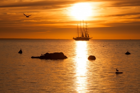 whaling: Old tall sail ship silhouette in sunset in sea