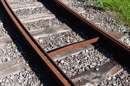 close range: Railway rail road track at close range