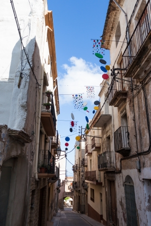 Typical spanish street in Catalonia, Spain photo