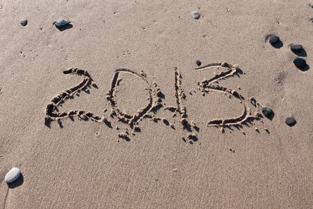 maldives island: Numbers 2012 on the sea beach for calendar year Stock Photo