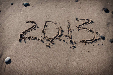 maldives island: Numbers 2012 on the beach sand for calendar year Stock Photo