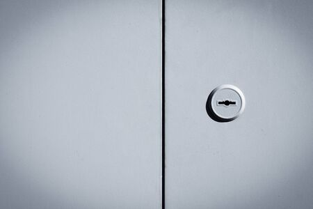 Metal black and white door background with lock photo