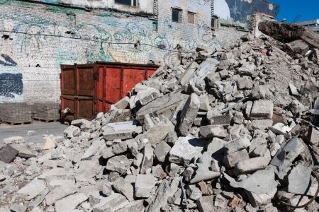 devastation: construction site full of rubble  and concrete debris