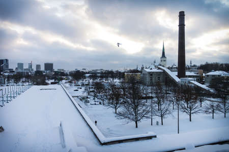 Dramatic view on the Tallinn at winter photo
