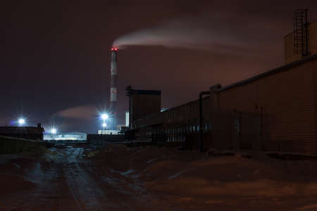 Road to winter power plant at night Stock Photo - 14784206