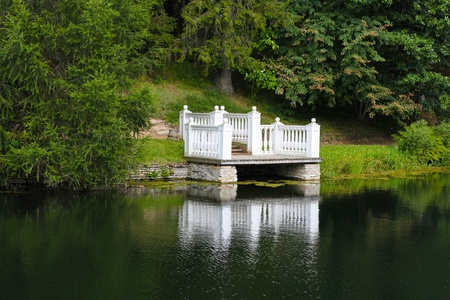 a beautiful lake with the grass, tree and pier photo