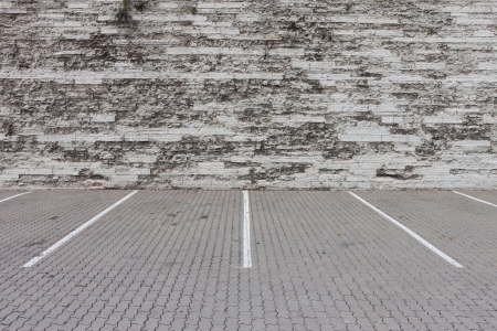 parking lot and old wall photo