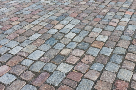 Paving stones road texture background photo