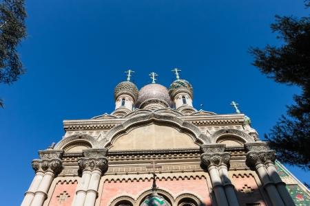 sanremo: Russian Orthodox church in Sanremo on the Italian Riveria   San Remo Italy