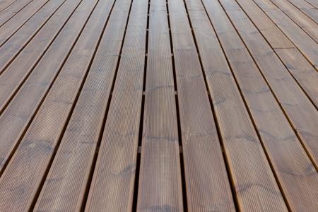 wet terrace brown wood floor background Stock Photo