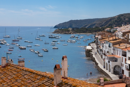 Aerial view from above of Cadaques bay, Costa Brava, Spain