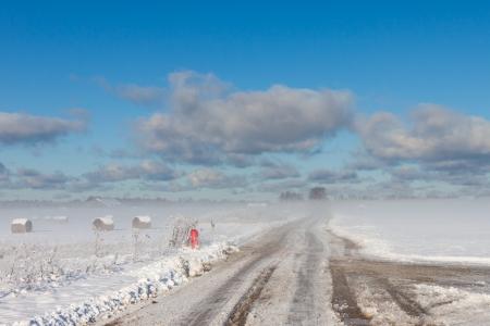 snowy hay bales with road near farm (fog) Stock Photo - 16032789