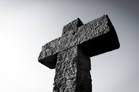 evangelism: Old ston cross - black and white
