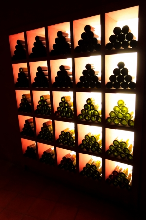 beverage display: wine shelves Stock Photo