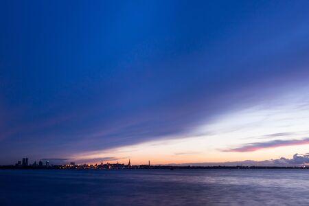 silhouette of Tallinn Estonia with fire sea sunset Stock Photo - 16302811