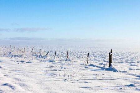 Barbed wire fence with snow covered ground and fog Stock Photo - 16582528