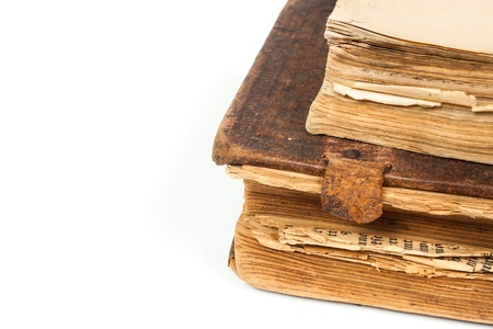 Old books isolated on a white background Stock Photo - 16789790