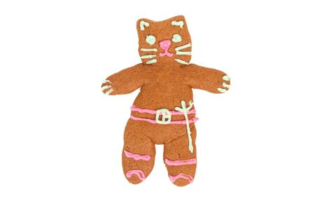 sugarcoat: Kitty Softpaws gingerbread cookie isolated over white background