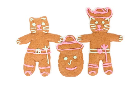 humpty dumpty: Puss in Boots, Humpty Dumpty and Kitty Softpaws gingerbread cookies isolated over white background