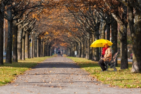 woman in the fall park with yello umbrella photo