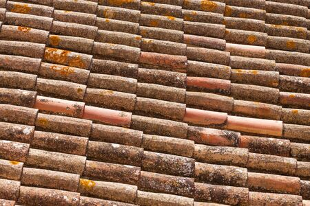 Old red brick roof tiles from Spain photo