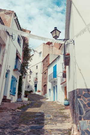 Detail of the typical stone street of Cadaques  Costa Brava, Spain photo