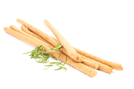 breadstick: Whole wheat breadsticks isolated on white background