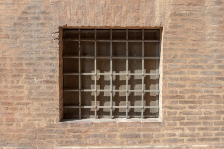 castings: old and aged window of a traditional house Stock Photo