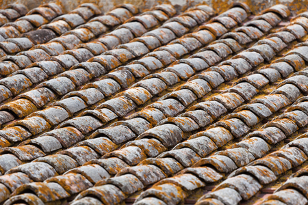 Close up image on very old roof tiles background photo