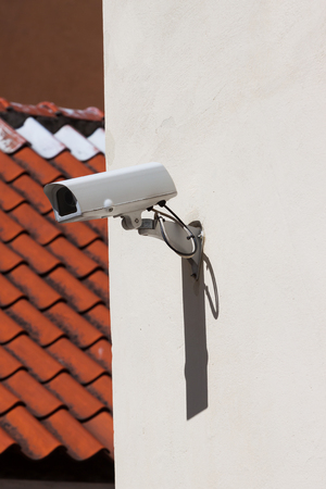 ip camera: Security camera on the old wall Stock Photo