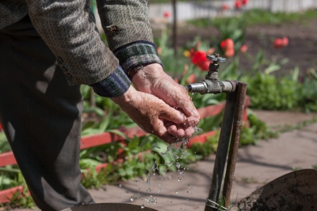 Seior adult washing hands in the garden photo