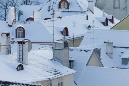 Beautiful roofs of Tallinn on a winter day photo