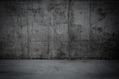Grungy concrete wall and stone floor room as background Stock Photo