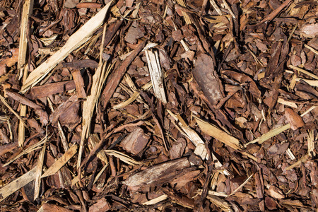 Wooden mulch ground's fragment as an abstract background composition