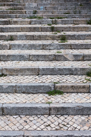 Stone steps in black and white. Old staircase of Lisbon photo