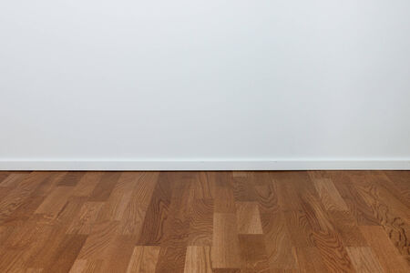 white wood floor: Empty white wall and wooden oak floor