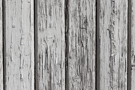 Wooden wall with white paint is severely weathered and peeling photo