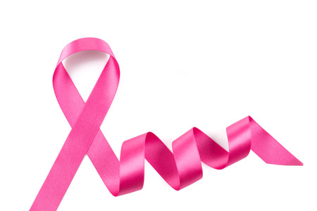 Pink breast cancer ribbon isolated on white background
