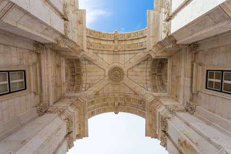 augusta: Detail of Rua Augusta Arch in Lisbon, Portugal