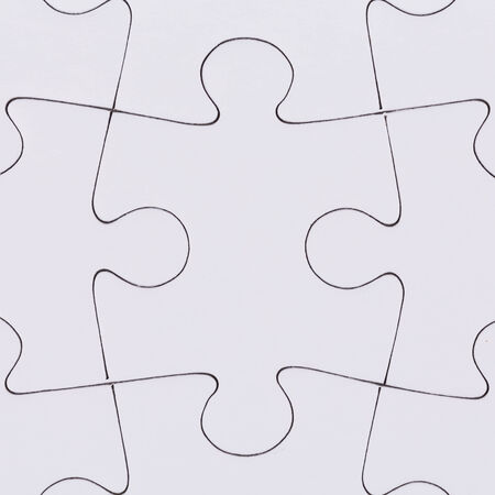 complete solution: white jigsaw puzzle as a background