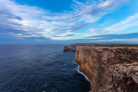 follow through: landscape at Sagres fortress during sunset, Portugal Stock Photo