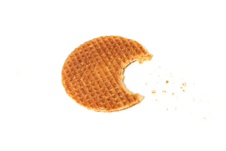 food waffle with caramel crumbs isolated on white background Stok Fotoğraf