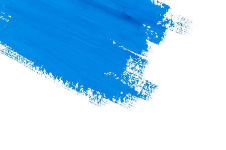 slag blauwe verf penseel kleur water aquarel geïsoleerd op een witte achtergrond