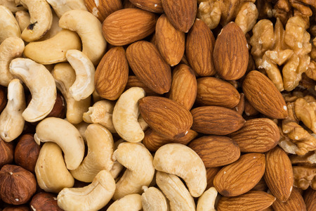 whole pecans: Peanuts, walnuts, almonds, hazelnuts and cashews nuts mixed together