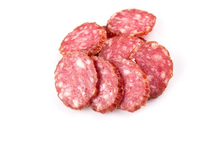 slices of salami isolated on a white background photo