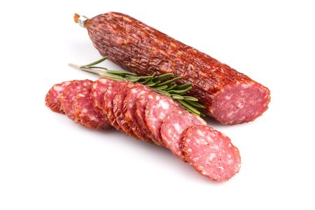 sliced salami isolated on a white background photo