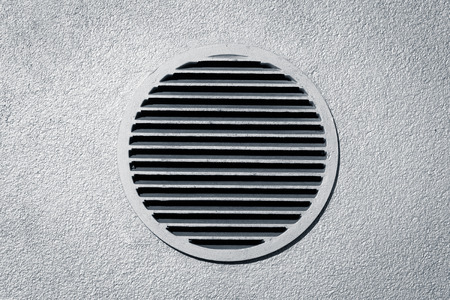 vent: Circle vent window on metallic concrete wall Stock Photo